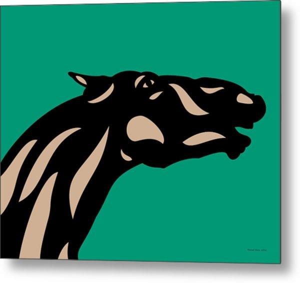 Fred - Pop Art Horse - Black, Hazelnut, Emerald Metal Print