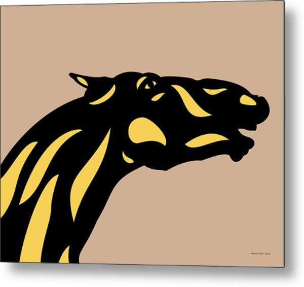 Fred - Pop Art Horse - Black, Primrose Yellow, Hazelnut Metal Print