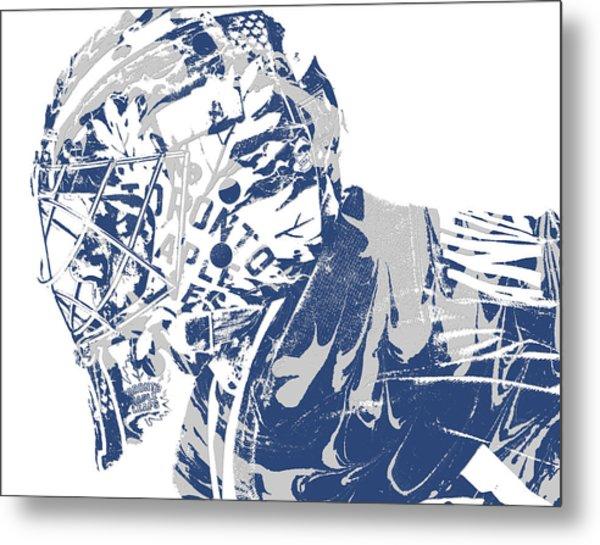Frederik Andersen Toronto Maple Leafs Pixel Art 3 Metal Print