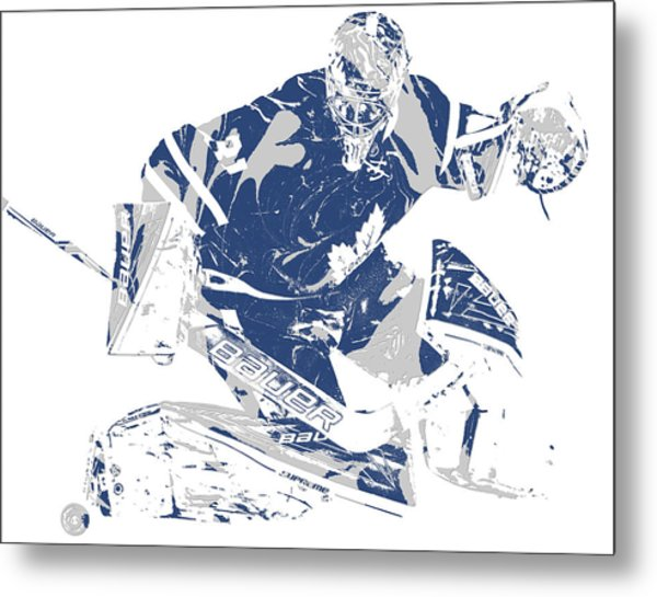 Frederik Andersen Toronto Maple Leafs Pixel Art 5 Metal Print