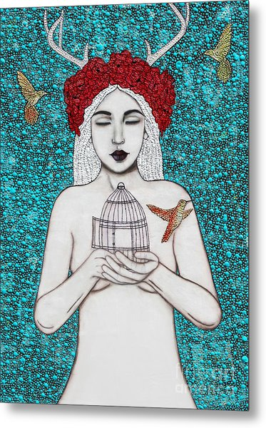 Metal Print featuring the mixed media Freedom by Natalie Briney