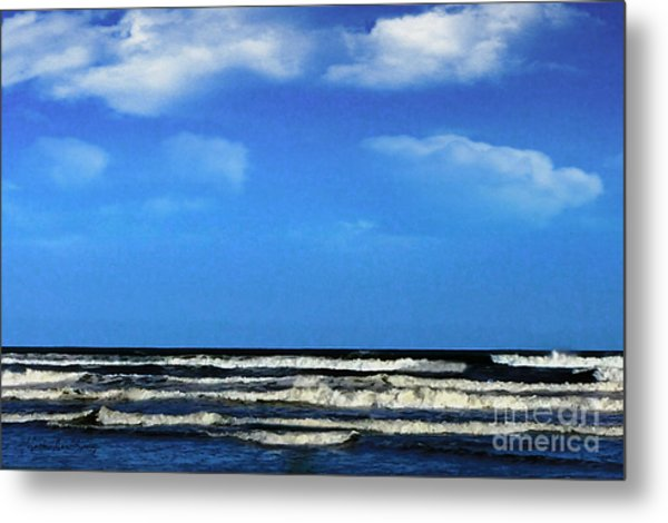 Metal Print featuring the digital art Freeport Texas Seascape Digital Painting A51517 by Mas Art Studio
