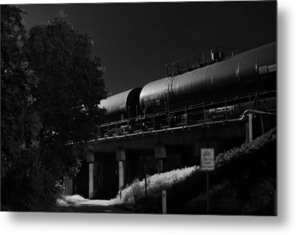 Freight Over Bike Path Metal Print