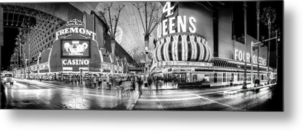 Fremont Street Experience Bw Metal Print