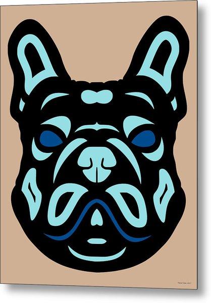 French Bulldog Francis - Dog Design - Hazelnut, Island Paradise, Lapis Blue Metal Print