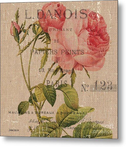 French Burlap Floral 2 Metal Print