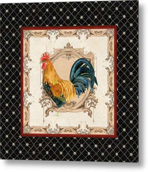 French Country Roosters Quartet 4 Metal Print