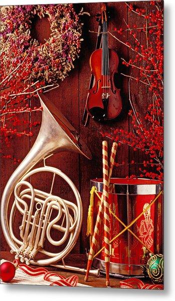 French Horn Christmas Still Life Metal Print