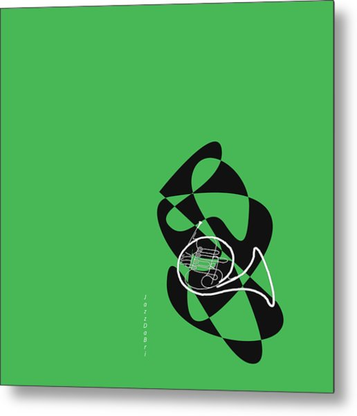 French Horn In Green Metal Print
