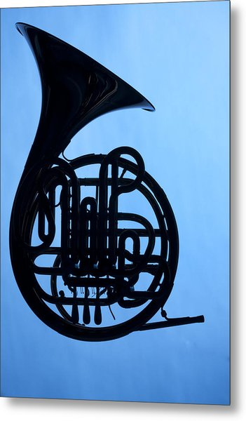 French Horn Silhouette On Blue Metal Print