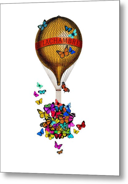 French Hot Air Balloon With Rainbow Butterflies Basket Metal Print