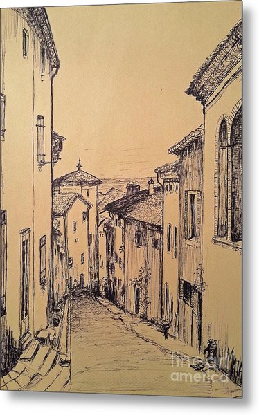 French Little Town Drawing Metal Print