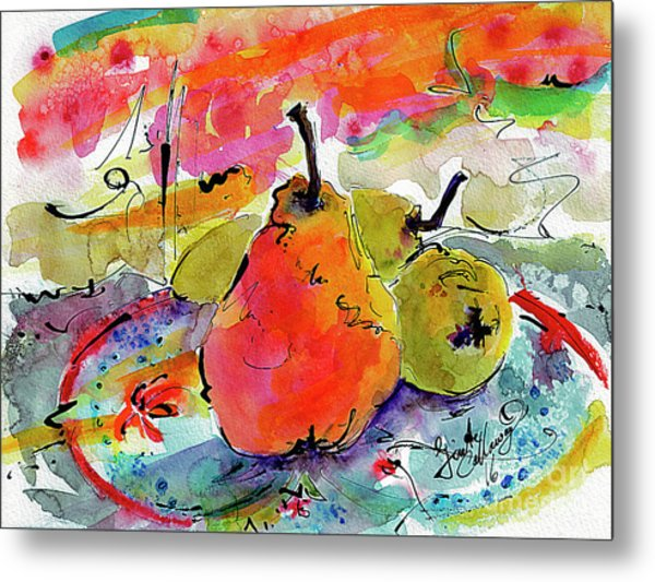 French Pears Watercolor And Ink Whimsical Art Metal Print