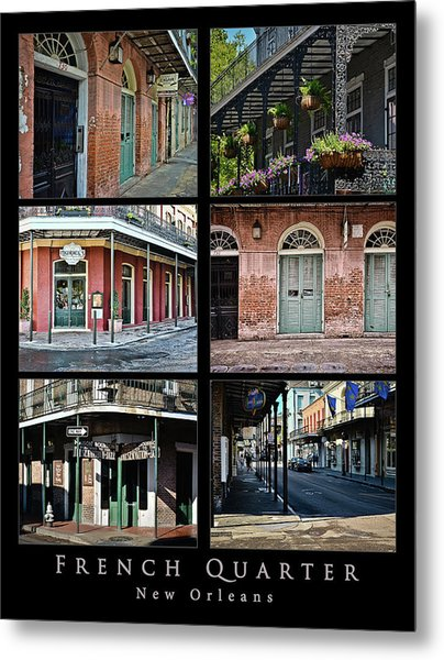 French Quarter - New Orleans - Collage Metal Print
