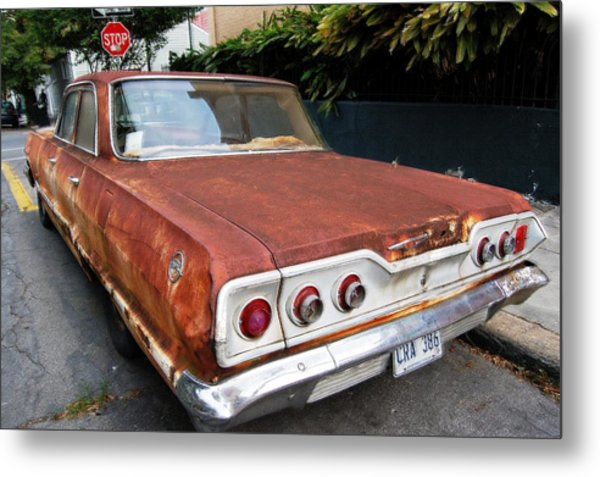 French Quarter Rusty Chevy Metal Print