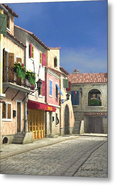 French Village Scene With Cobblestone Street Metal Print