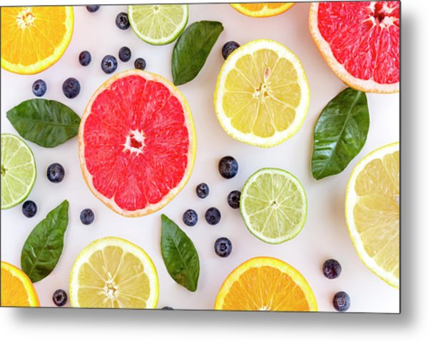 Fresh Citrus Fruits Metal Print