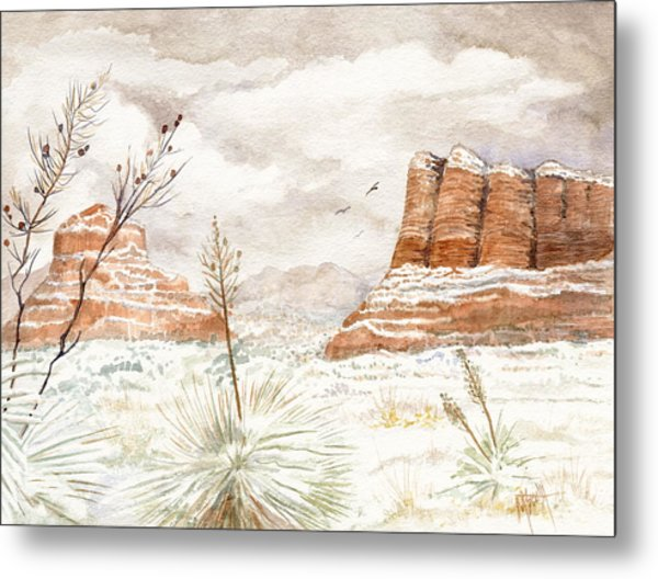 Fresh Snow On Bell Rock Metal Print