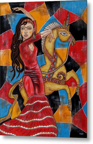 Frida Kahlo Dancing With The Unicorn Metal Print
