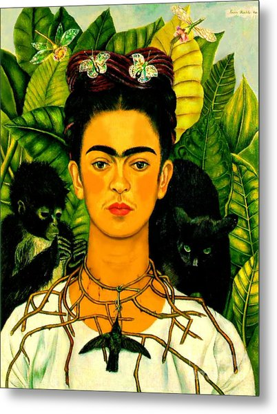 Frida Kahlo Self Portrait With Thorn Necklace And Hummingbird Metal Print