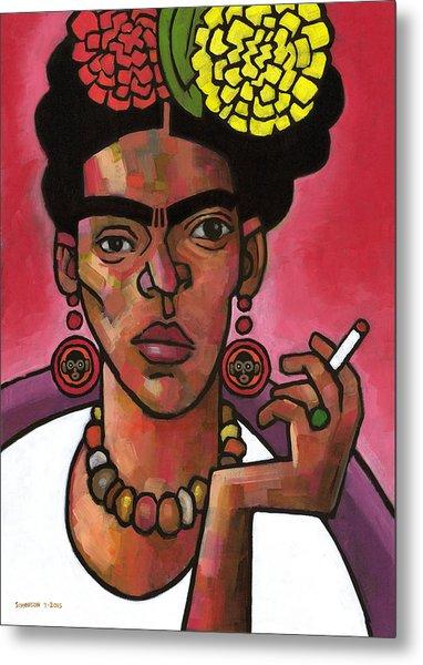 Frida Listening Metal Print