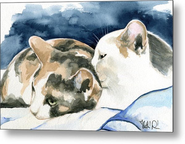 Friends Forever - Cat Painting Metal Print