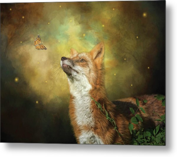 Friends On A Firefly Evening Metal Print