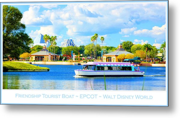 Friendship Boat On The Lagoon Epcot Walt Disney World Metal Print