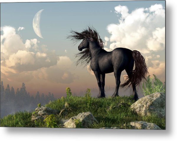 Metal Print featuring the digital art Friesian Moon by Daniel Eskridge