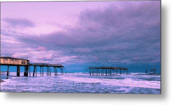 Metal Print featuring the photograph Frisco Fishing Pier And Clouds Panorama by Ranjay Mitra