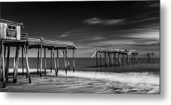 Metal Print featuring the photograph Frisco Fishing Pier In Black And White Panorama by Ranjay Mitra