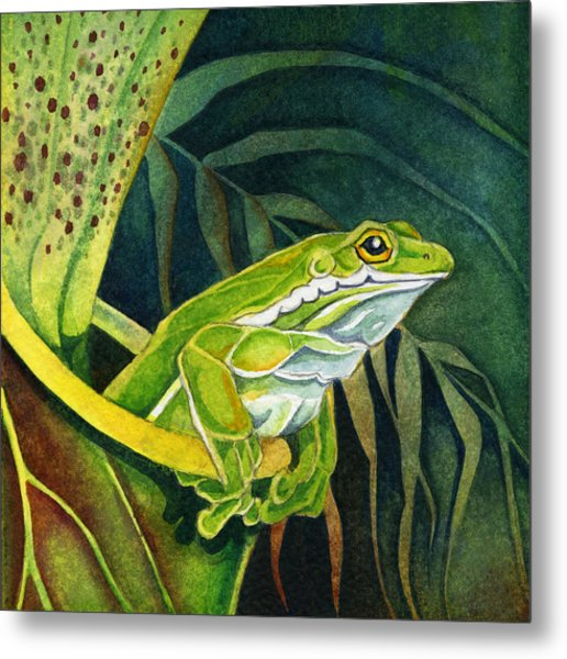 Frog In Pitcher Plant Metal Print