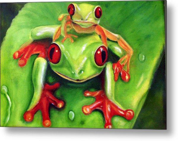 Frog Rodeo Metal Print by Darlene Green