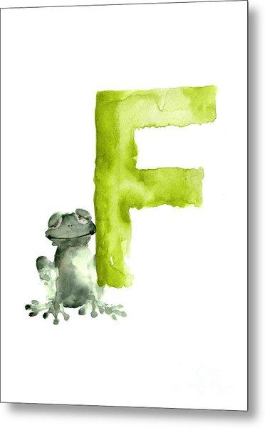 Frog Watercolor Alphabet Painting Metal Print