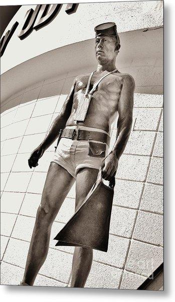 Frogman Statue Metal Print