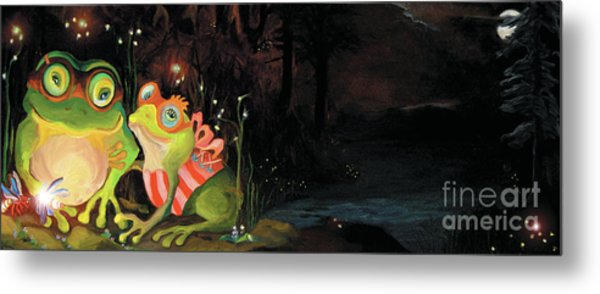 Metal Print featuring the painting Frogs At Silver Lake by Donna Hall