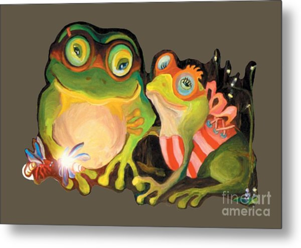 Frogs Transparent Background Metal Print