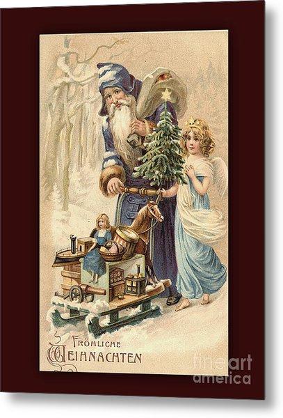 Frohe Weihnachten Vintage Greeting Metal Print