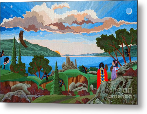 Metal Print featuring the painting From A High Place, Troubles Remain Small by Chholing Taha