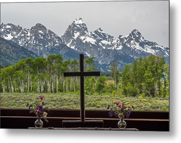 From The Chapel Of The Transfiguration In The The Grand Tetons Metal Print