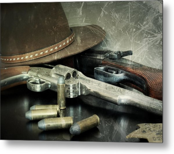 Frontier Lawman Guns Metal Print