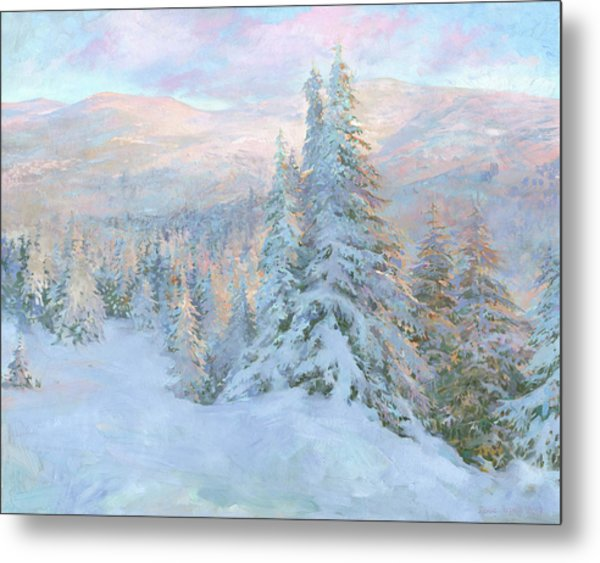 Metal Print featuring the painting Frosty Evening by Denis Chernov