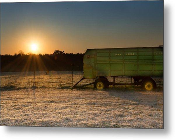 Frosty John Deere Sunrise Metal Print