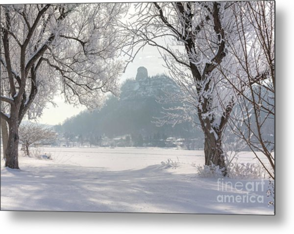 Metal Print featuring the photograph Frosty Sugarloaf Between Trees by Kari Yearous