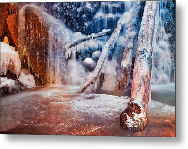 Frozen Avalon Fantasy Falls Metal Print
