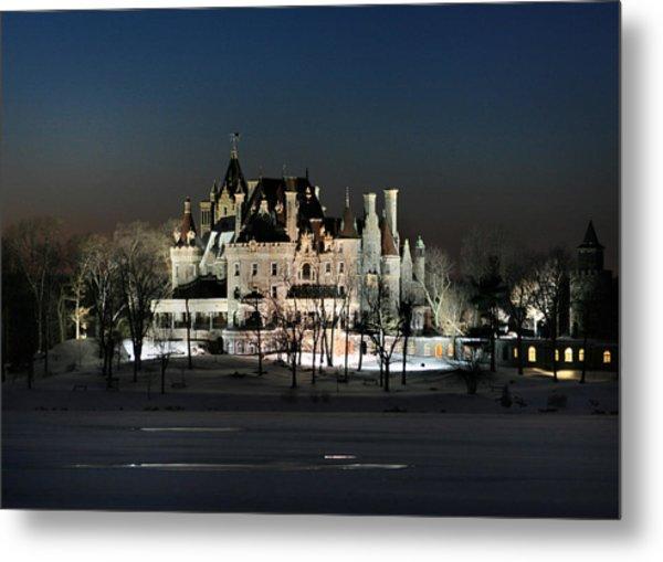 Frozen Boldt Castle Metal Print