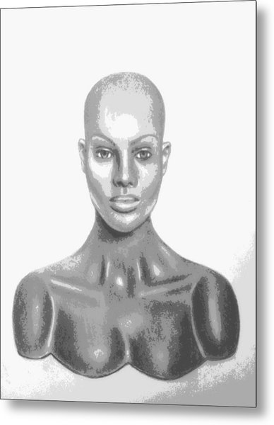 Superficial Bald Woman Art Charcoal Drawing  Metal Print