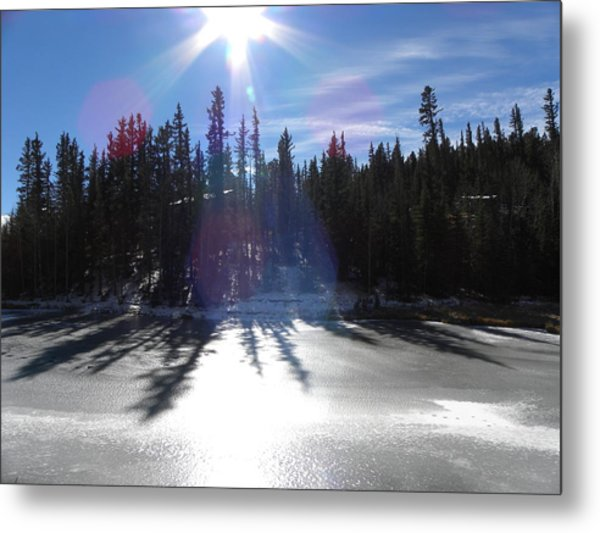 Sun Reflecting Kiddie Pond Divide Co Metal Print