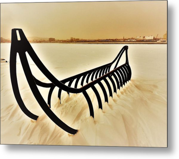 Frozen River And Canoe Metal Print