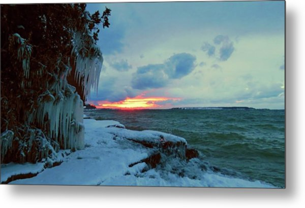 Frozen Sunset In Cape Vincent Metal Print